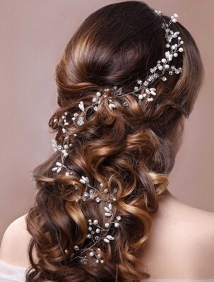 Women  Gold or silver 19.6 inch pearl rhinestone headbands wedding hair vine bridal accessories
