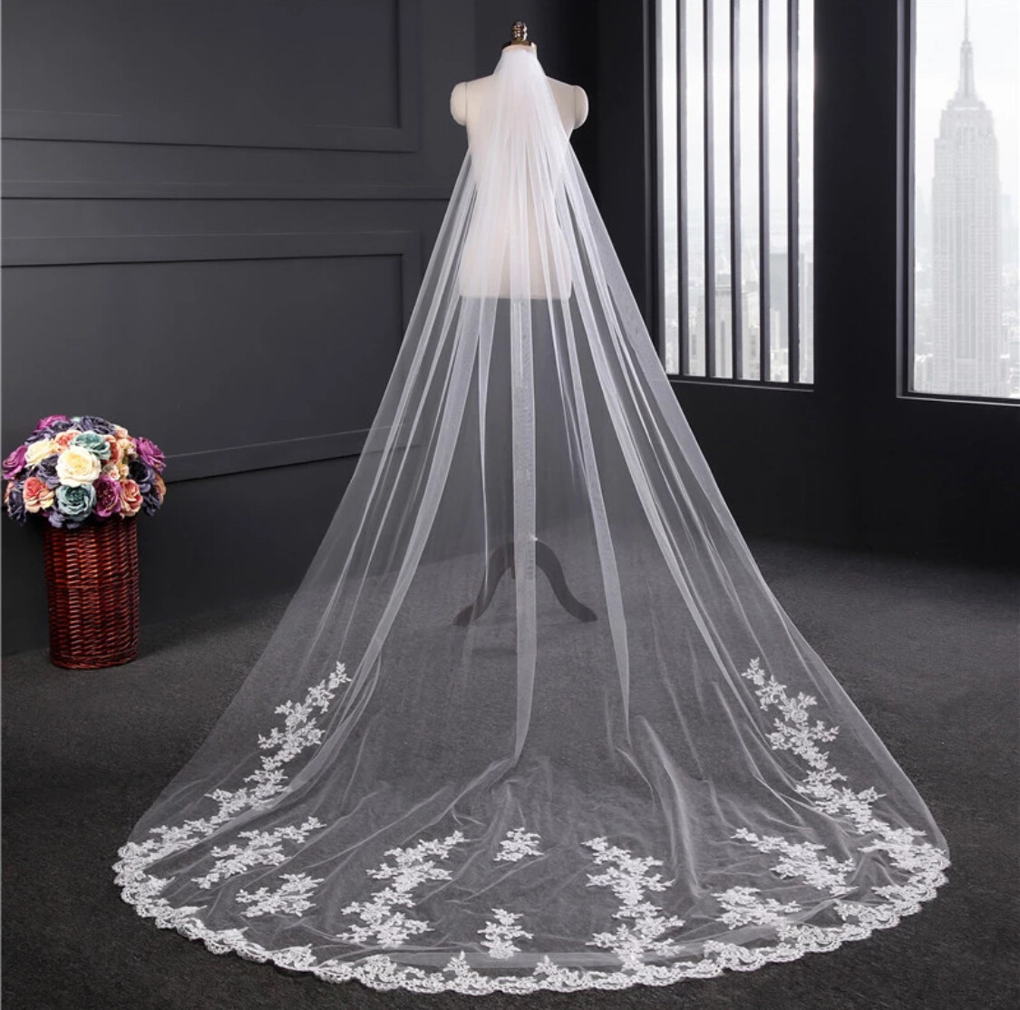 One-tier 3M Lace Applique Edge Cathedral Wedding Veil White or Ivory