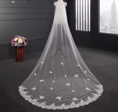 White ivory 3M/10ft 2T  two layer  Cathedral wedding veil  with comb  lace edge