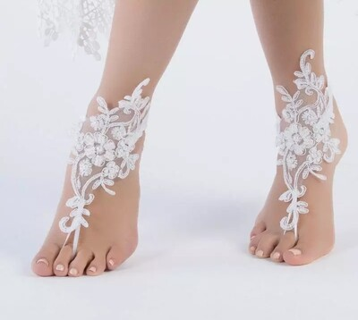 White or ivory Wedding lace flower barefoot beach sandals pair one size