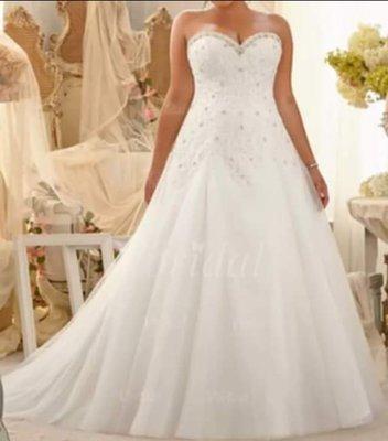 CUSTOMIZED Plus size lace tulle strapless wedding dress. Sizes 14W-26W