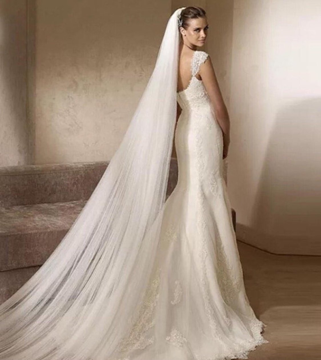 White/Ivory 6ft/2m 10 ft/3M 16ft/5m 2T tier two layer with comb cathedral wedding veil