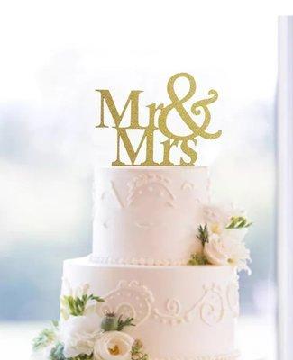 Gold/silver glitter Mr & Mrs Wedding cake topper