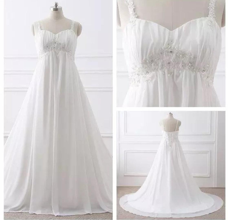 Standard/plus size white/Ivory chiffon Wedding dress 4-26W
