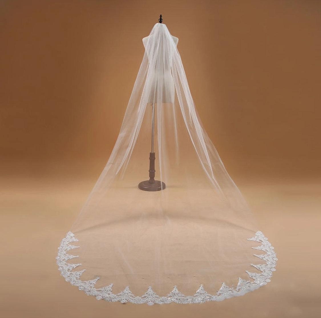 3m/10 ft White/Ivory lace appliqué edge cathedral veil