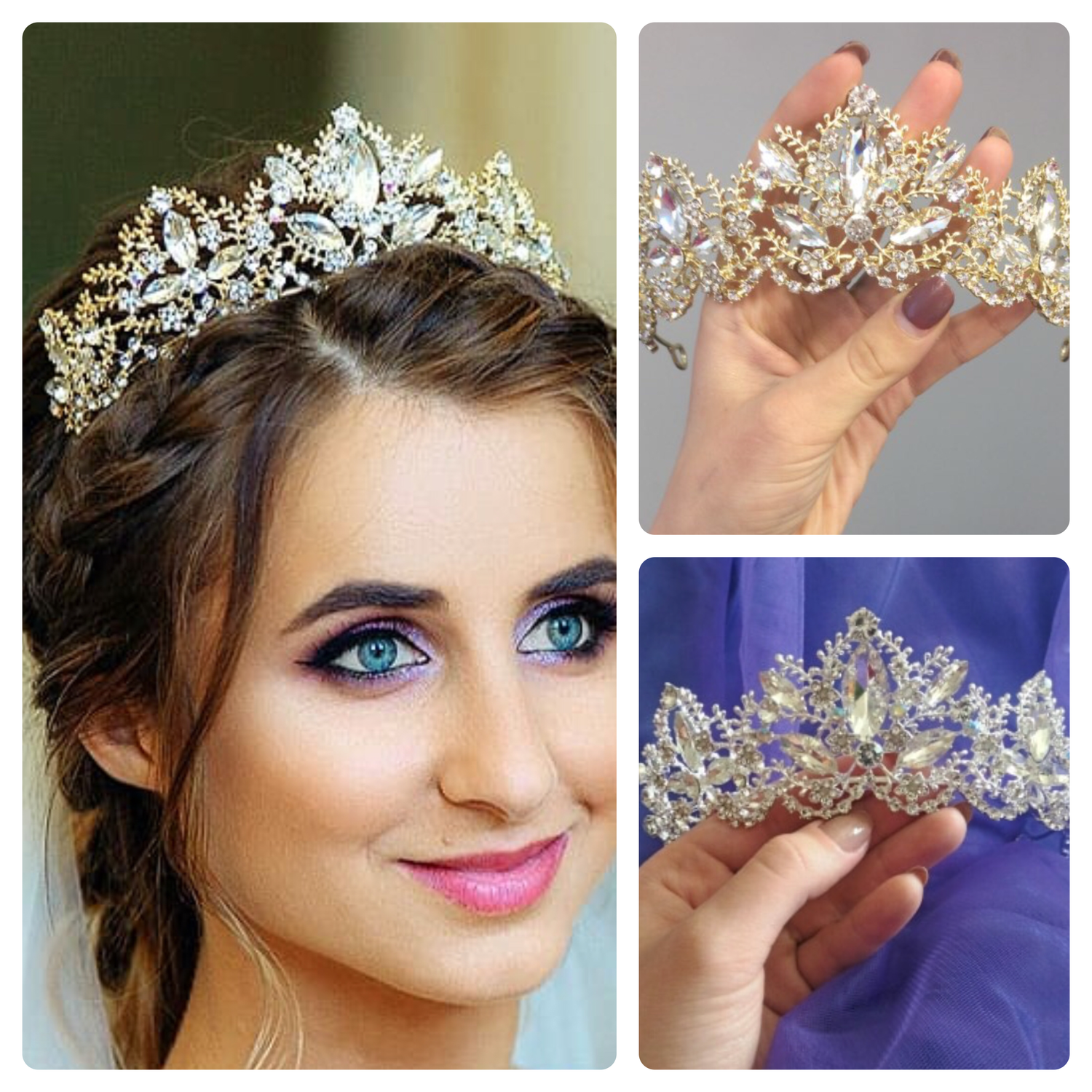 Gold or silver rhinestones crystal wedding crown tiara
