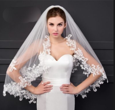 White/Ivory elbow length veil With comb