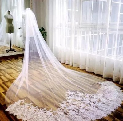 3 Meter White Ivory Cathedral Wedding Long Edge Lace Bridal Veil with Comb Wedding Accessories Wedding Veil