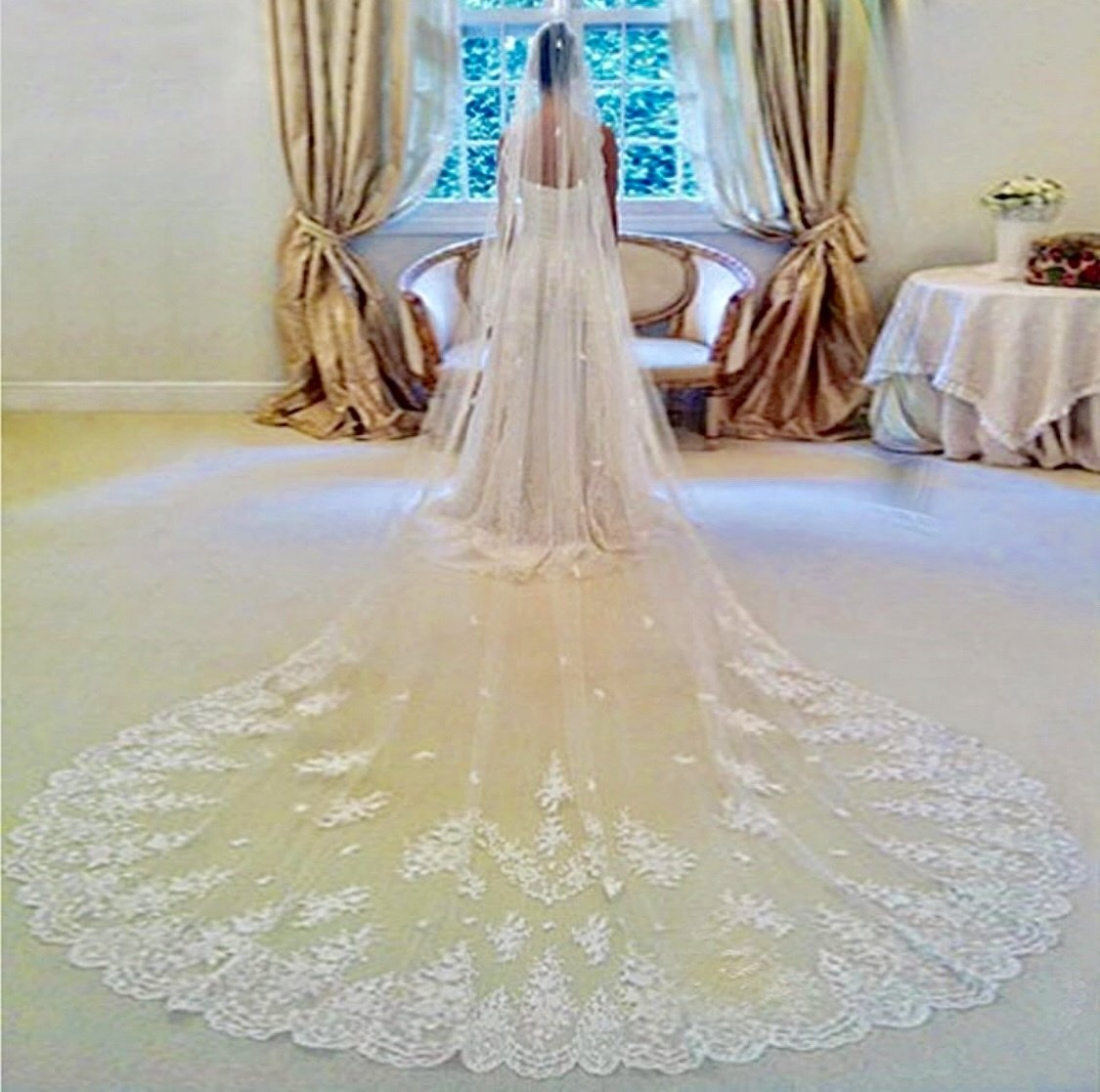 White/Ivory 3M/10 ft 4M/13 ft Lace edge cathedral veil