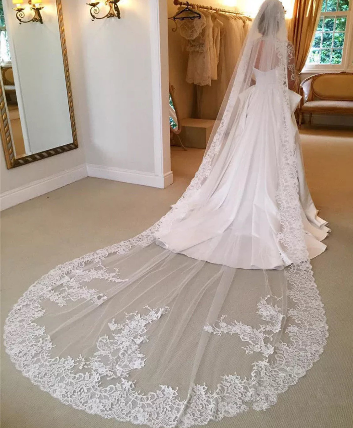 Custom 3M/4M/5M/6M White/Ivory 1T Cathedral Wedding Bridal Lace Edge Veil+Comb $70-$100
