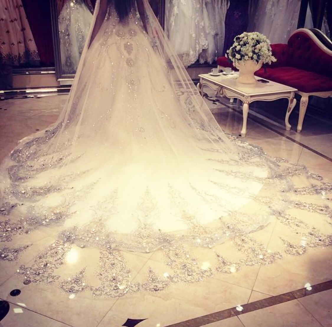 2-6m White/Ivory lace beaded edge cathedral veil