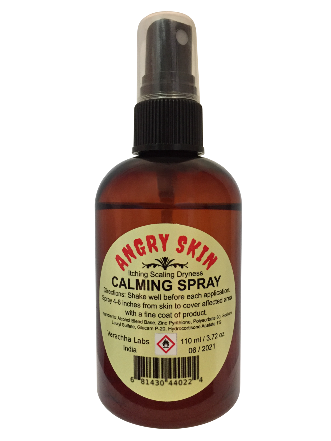 Angry Skin Calming Spray Eczema & Psoriasis for Dry Irritated Skin Itch Relief and Dermatitis Zinc Pyrithione (ZnP) Formula Promotes Healing and Calms Redness Rash and Itching Fast  110 ml / 3.72 oz