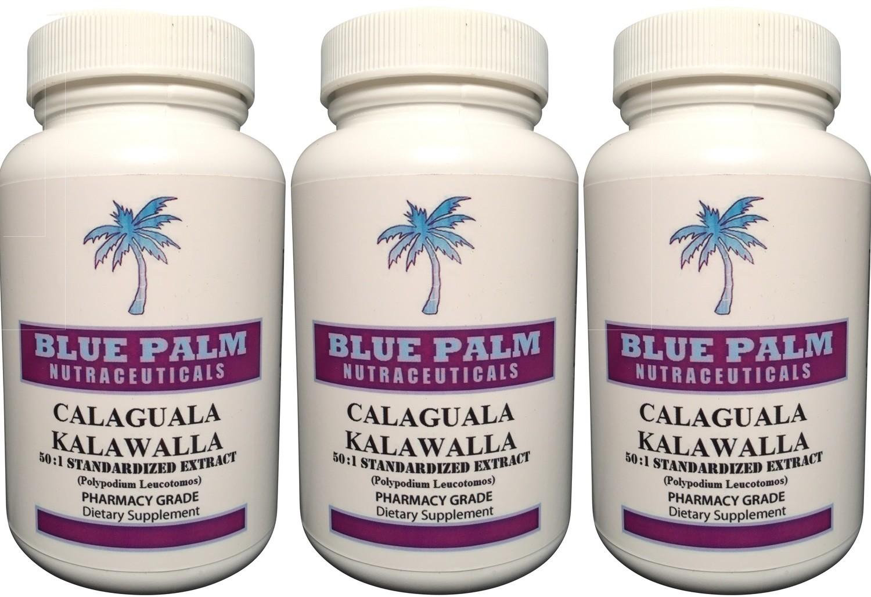 Calaguala Kalawalla Rhizome 50:1 Powdered Extract Polypodium Leucotomos 500 mg Capsules 100 ct (3 Pack - 300 Veggie Caps) Save $13.00