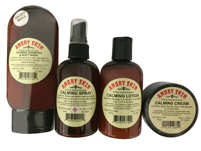 Angry Skin Calming Collection 4 Piece Set Eczema & Psoriasis for Dry Irritated Skin Itch Relief and Dermatitis Promotes Healing Calms Redness Itching (Save $25.00)
