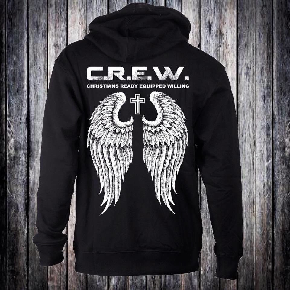 C.R.E.W. Hoodies black with white logo any size. On completion of sale add size and color 00000