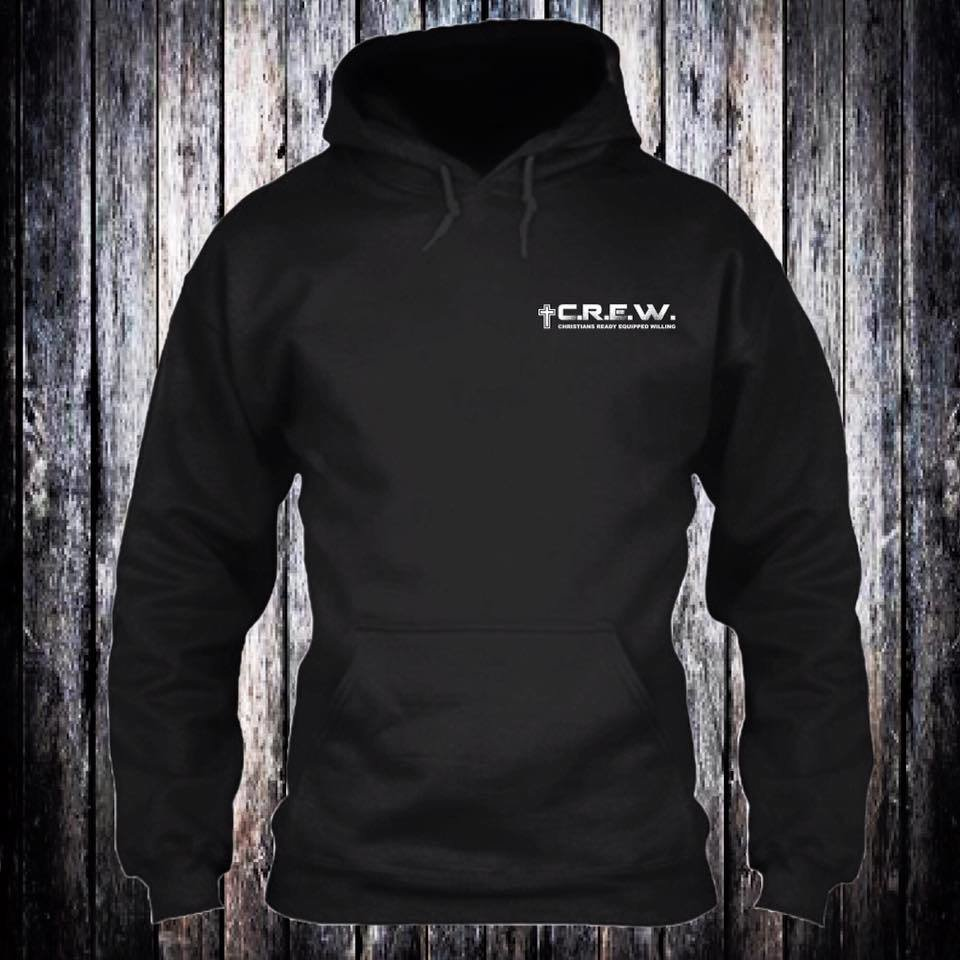 C.R.E.W. Hoodies black with white logo any size. On completion of sale add size and color