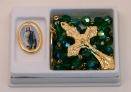 St. Jude Pin and Green Crystal Rosary Set