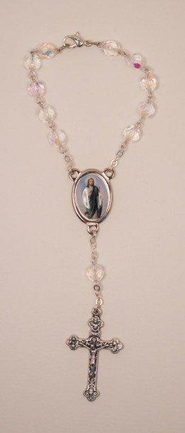 St. Jude One Decade Auto Rosary, Crystal
