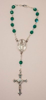 St. Jude Crystal Auto Rosary, Green