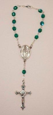 St. Jude Crystal Auto Rosary, Green