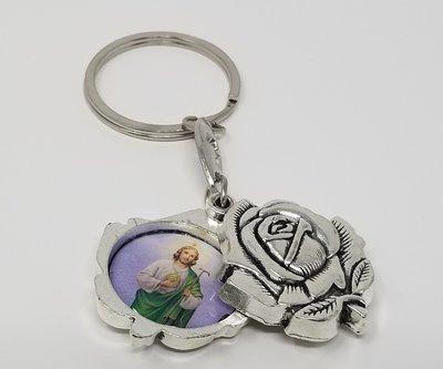 St. Jude Rosebud Locket Keychain