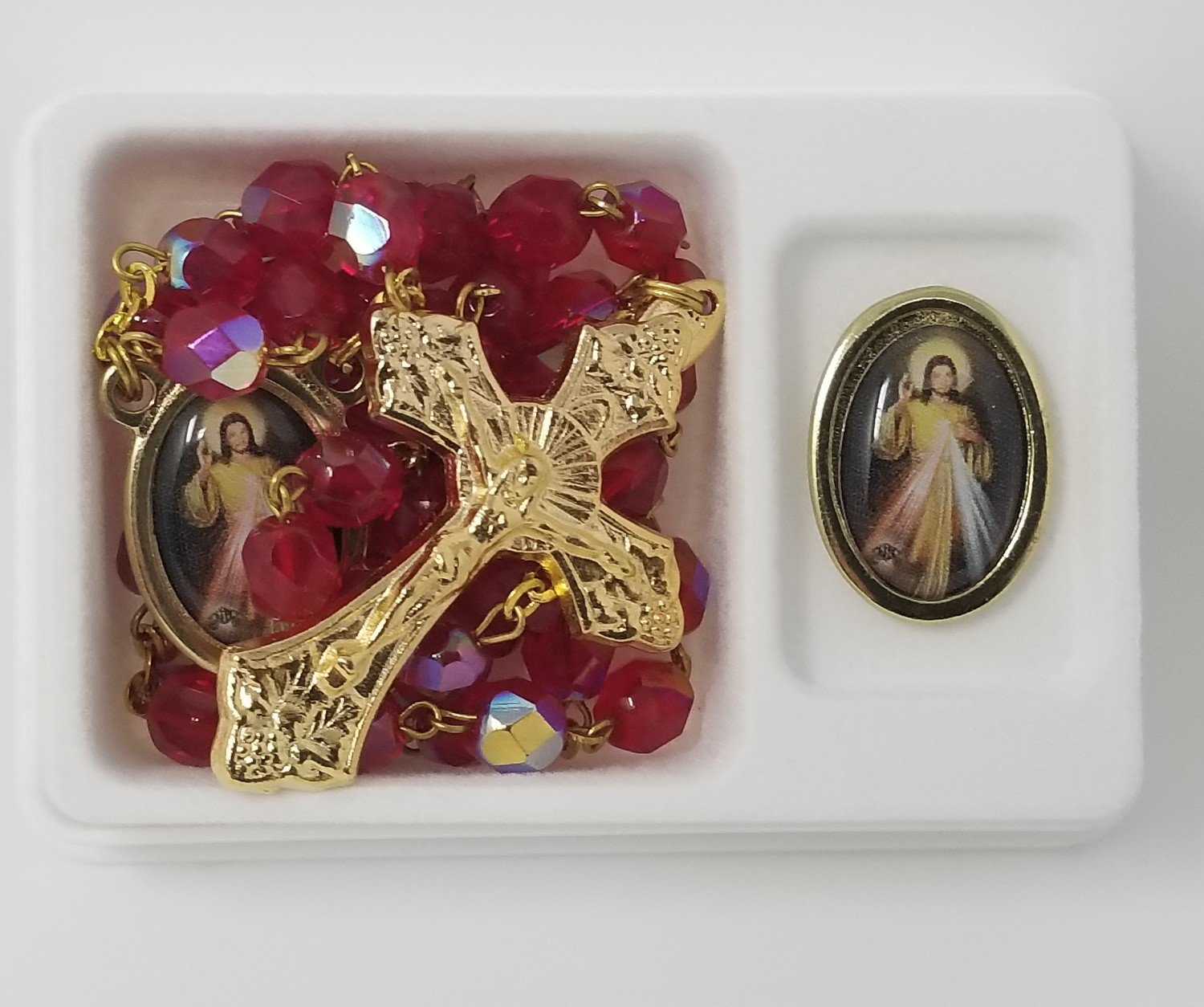 Divine Mercy Pin and Crystal Rosary Set