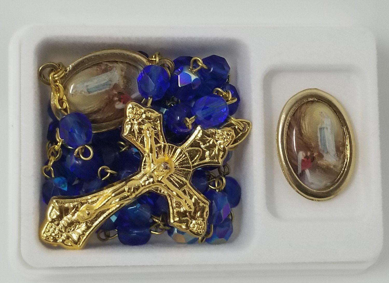 Our Lady of Lourdes Pin and Crystal Rosary Set