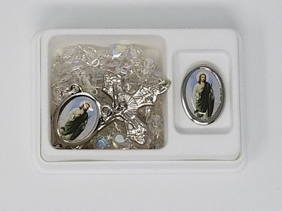 St. Jude Pin and Clear Crystal Rosary Set