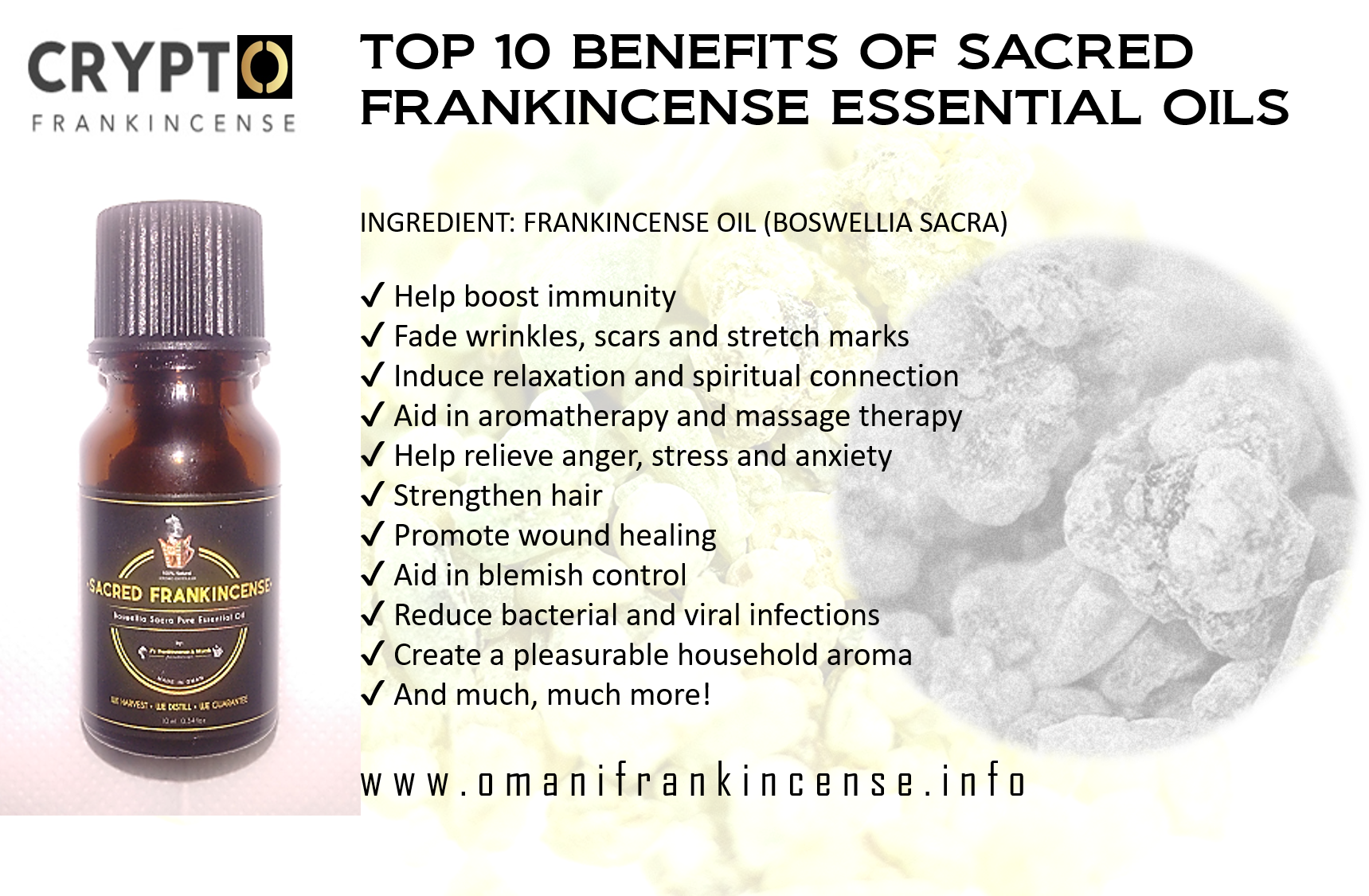 10ML OMANI SACRED FRANKINCENSE PURE ESSENTIAL OIL - Boswellia Sacra - Free  Shipping