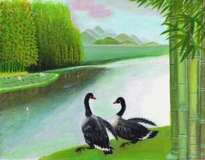 Print 11x17 - Ducks by the Lake by Zhi Ming Wu