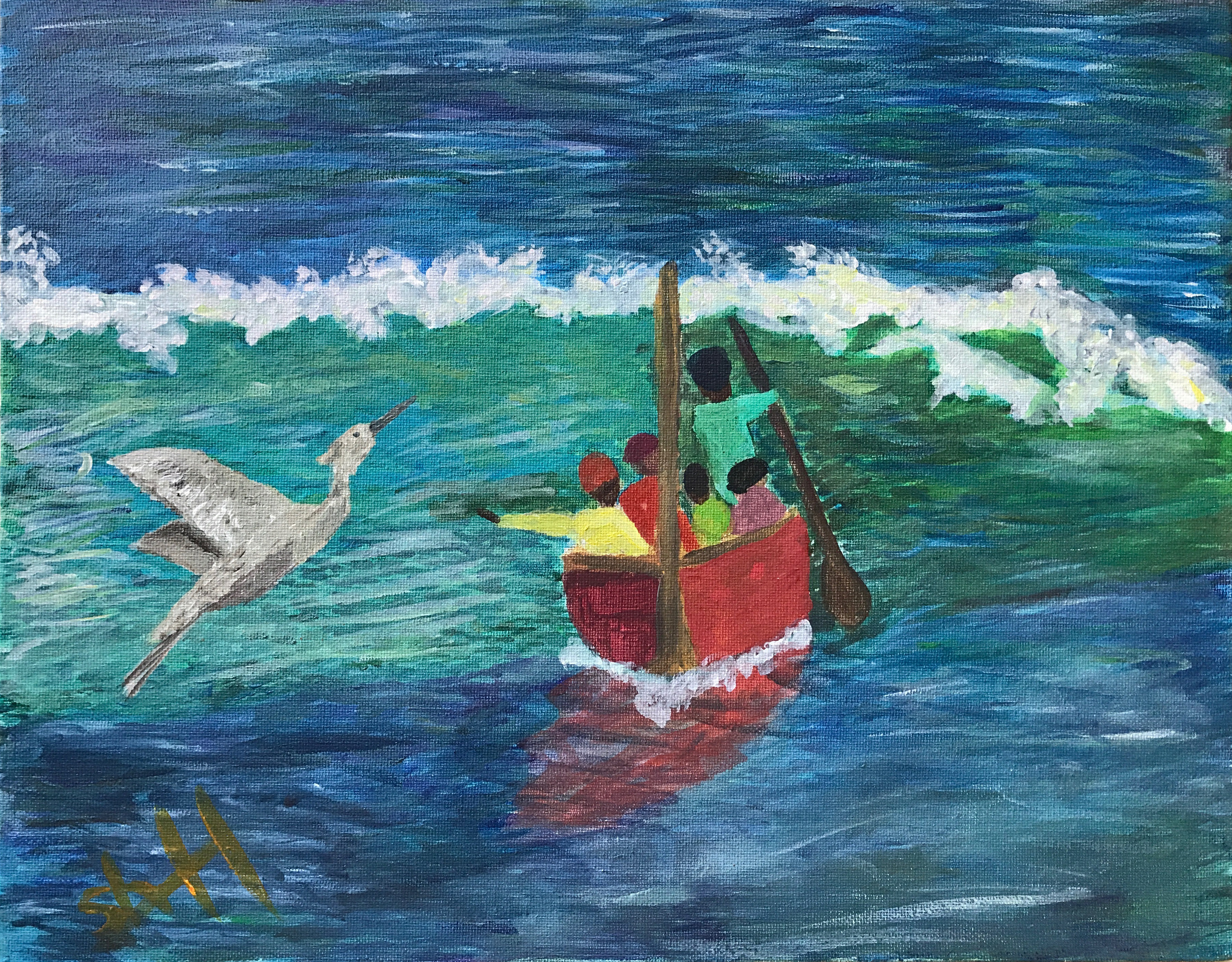 "Art - Higgins, Irene - ""Crane by the Shore"" 00048"