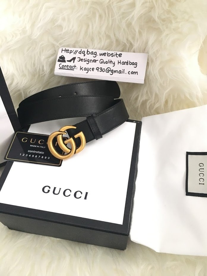 IN STOCK : 1:1 Gucci Double G buckle Leather Belt - 1 25 inch