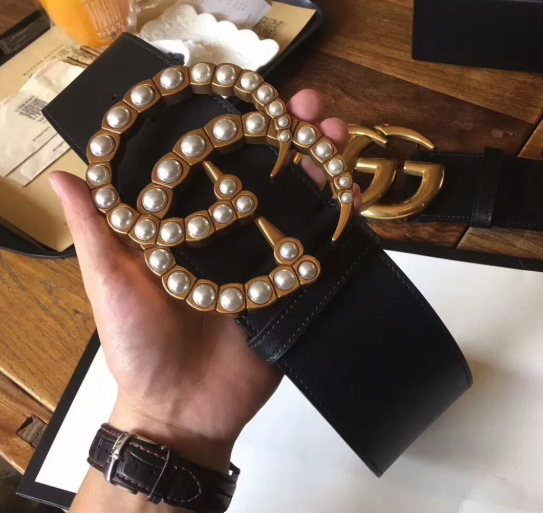 818cf2dbda9 IN STOCK - 1 1 Gucci GG Pearl Embellished Leather Belt 2.75