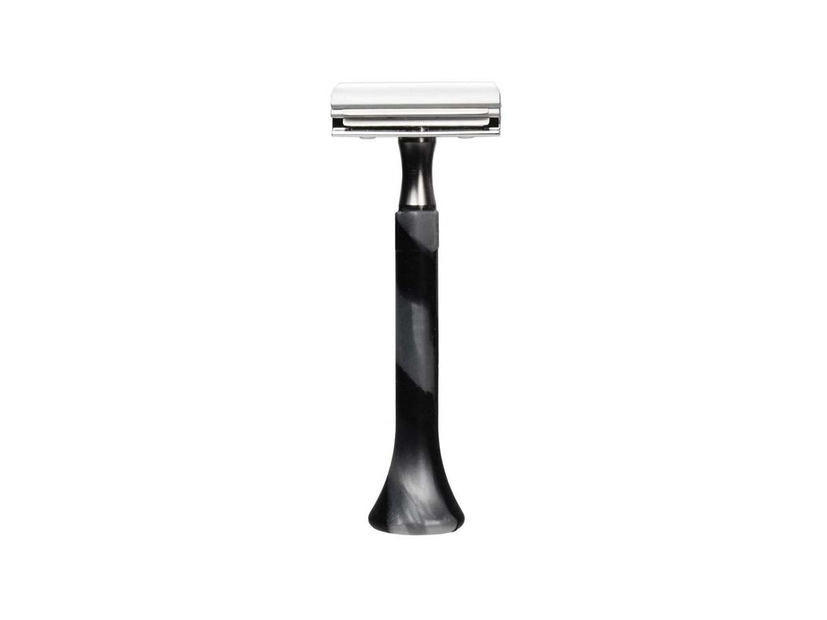 Erbe Станок для бритья с двумя лезвиями, силиконовая ручка, серебряный/черный
