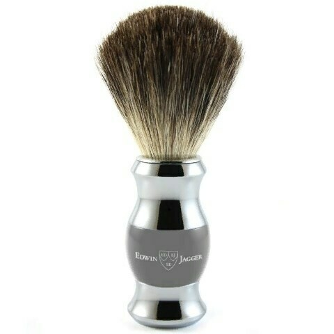 Edwin Jagger Grey & Chrome 81SB355CR - Помазок темно-серый барсучий ворс