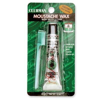Clubman Moustache Wax Chestnut - Воск для укладки и подкрашивания бороды с щеточкой (каштановый) 15 мл