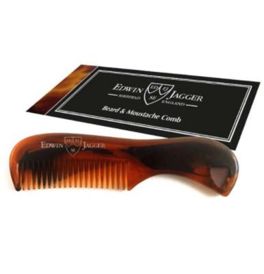 Расческа для бороды и усов черепаховый цвет Edwin Jagger Tortoiseshell Beard & Moustache Comb