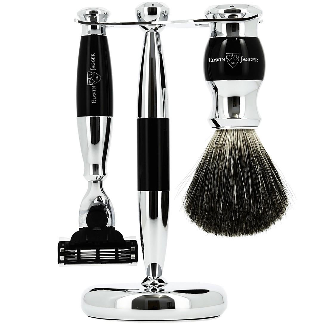 Edwin Jagger S81M356CR - Набор для бритья, черная смола