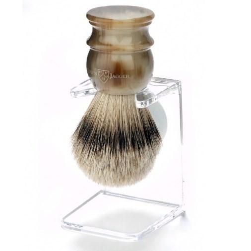 Edwin Jagger Large Horn Silver Tip 3EJ462LDS - Помазок темно-коричневый барсучий ворс с подставкой