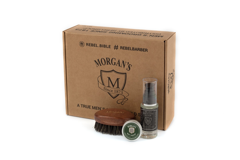 Подарочный набор эликсир + щетка для бороды и усов с тестером Morgans