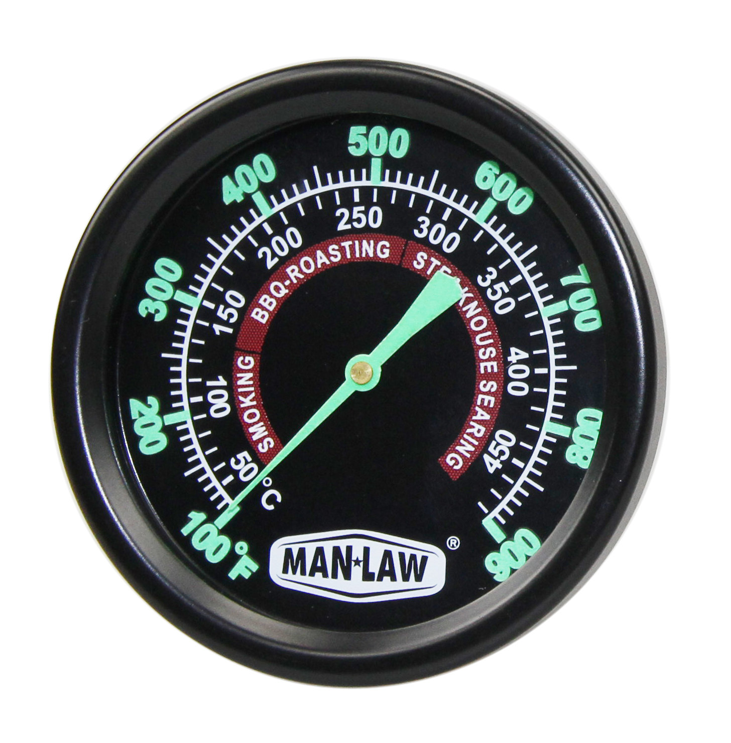 GRILL/SMOKER GAUGE WITH GLOW IN THE DARK DIAL 00122