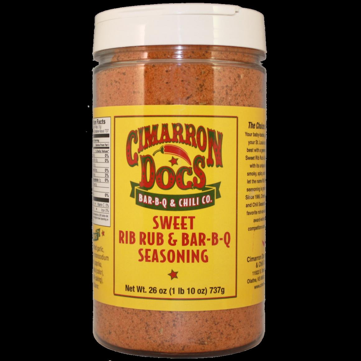 Cimarron Doc's Sweet Rib Rub & Bar-B-Q Seasoning 1 lb. 10 oz. 0780690100654