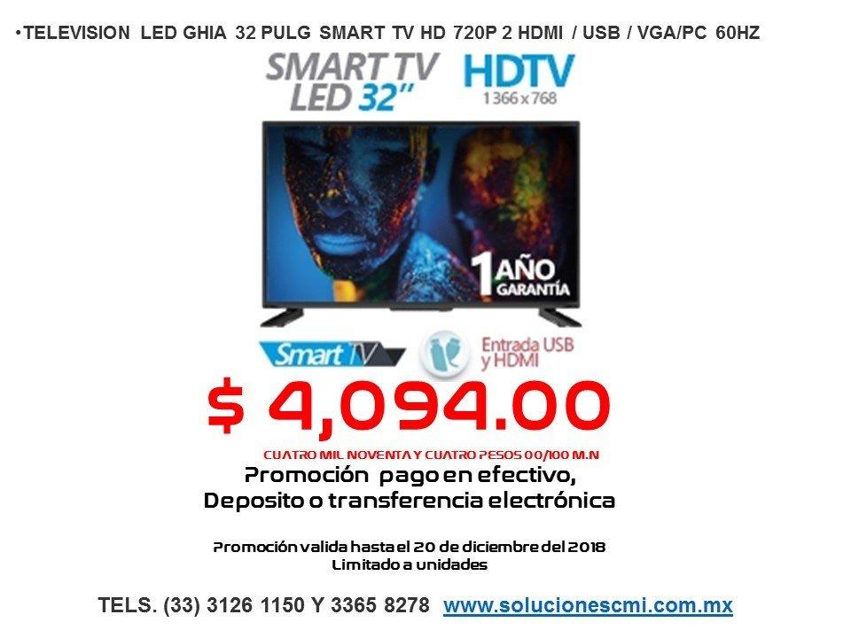 TELEVISION LED GHIA 32 PULG SMART TV
