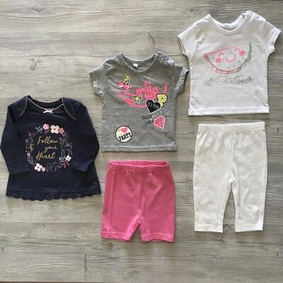 Лот №99 для девочек 3-6 месяцев 5 предметов Мультибренд