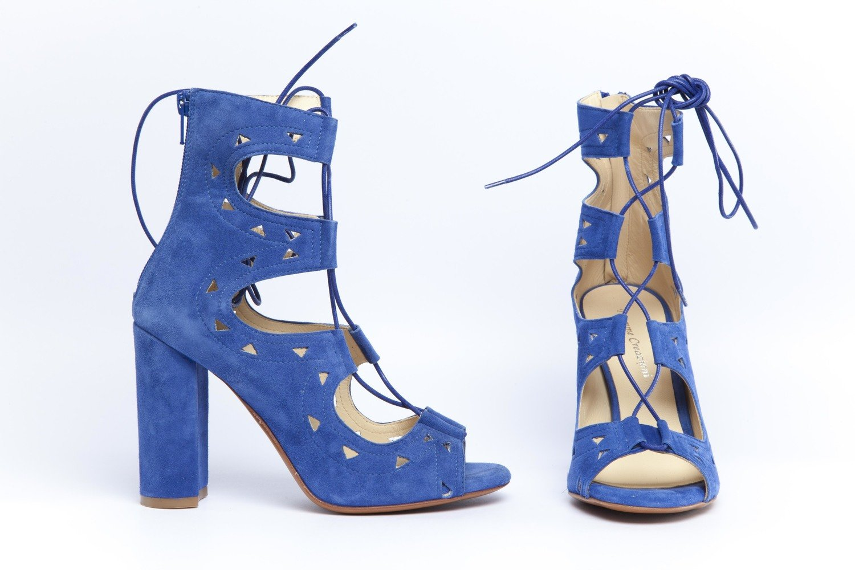Camoscio Sandalo Bluette 90 In Tacco l35uFT1KJc