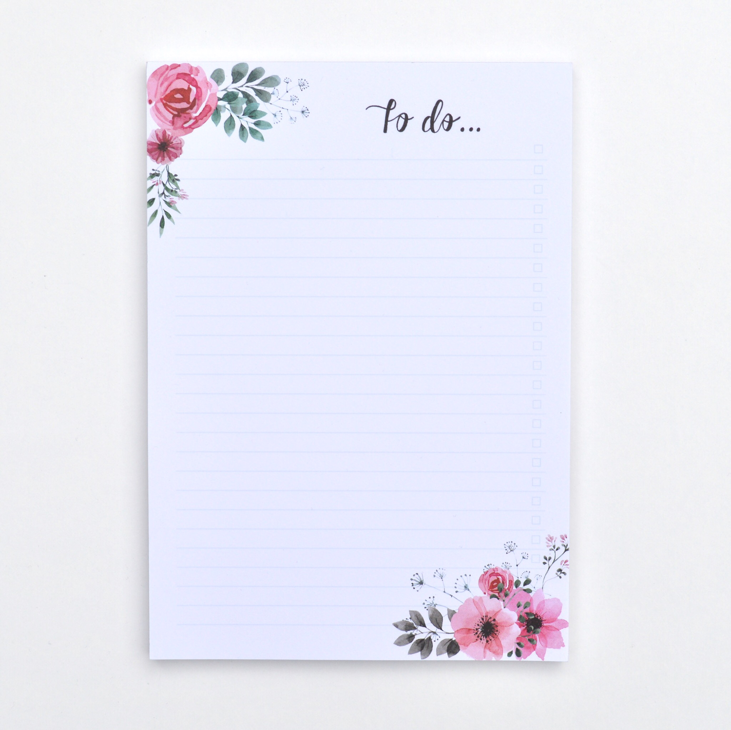 Vintage Flowers   A5 To-Do List Pad