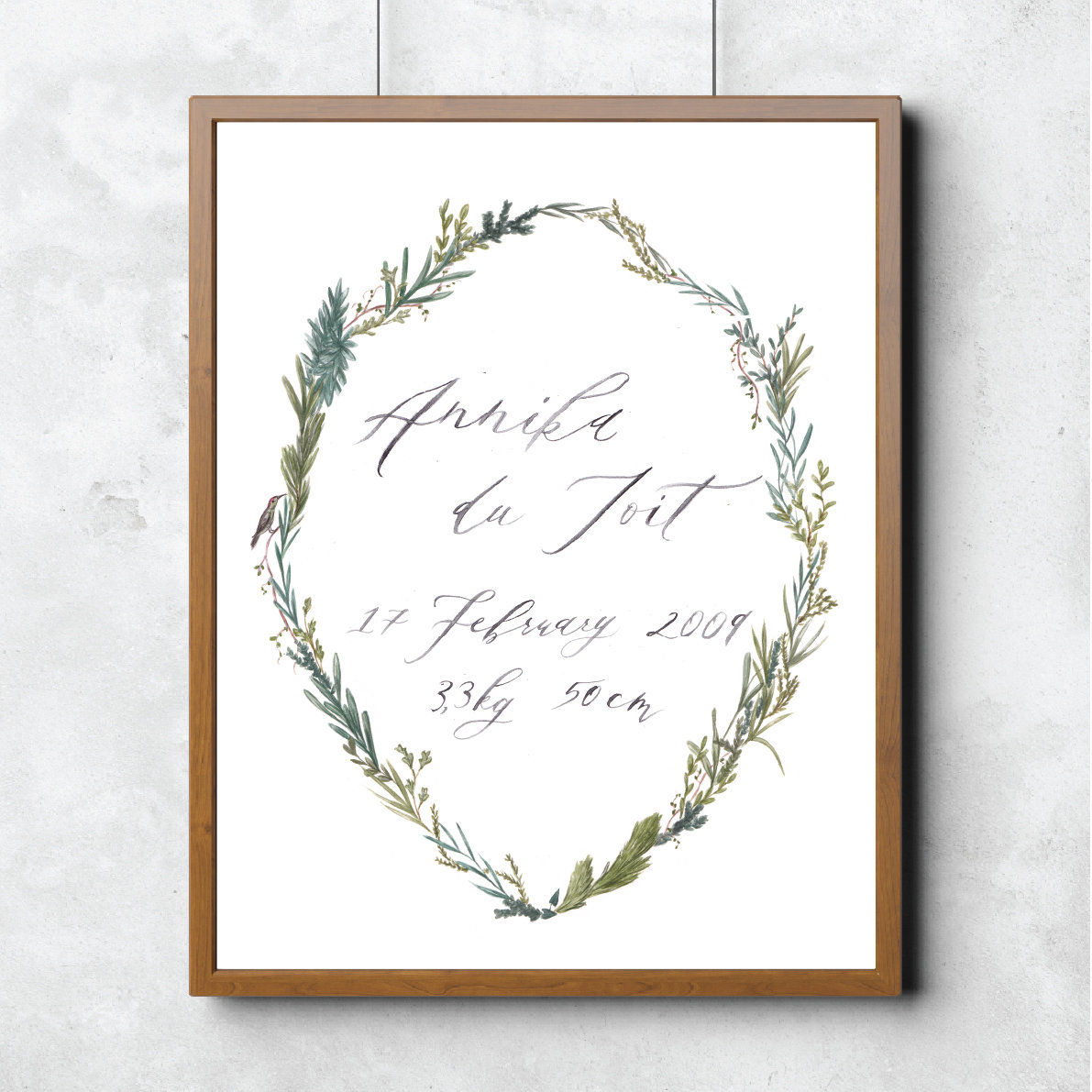Wreath Calligraphy Print 00009