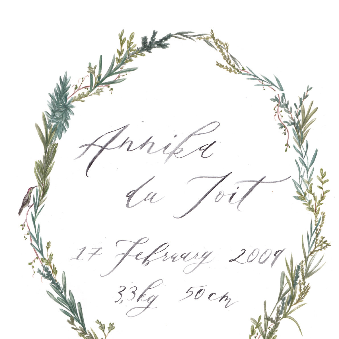 Wreath Calligraphy Print
