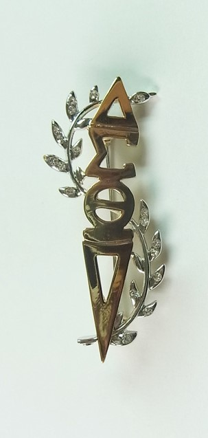 Gold Bling Leaf Torch Pin 00069