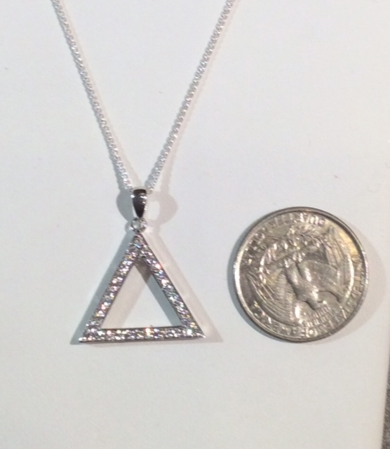 Small Sterling CZ Pyramid Necklace 00074